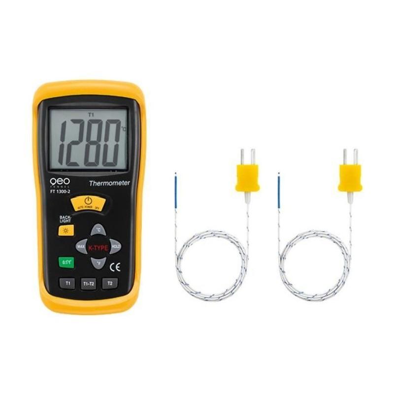 Thermomètre Type K - FT1300-2 à deux entrée (de -50 °C à +1300 °C)