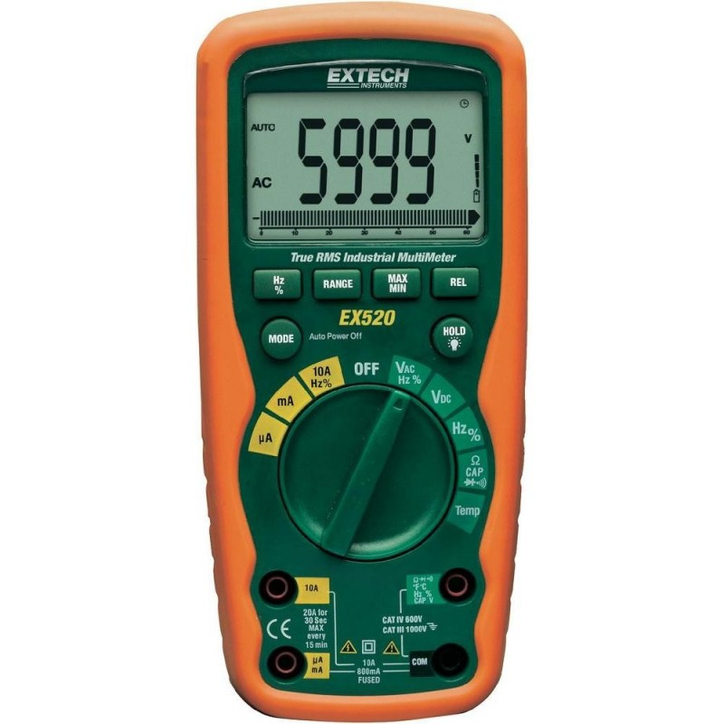 Multimètre digital industriel Extech EX520 ETANCHE IP67 CAT IV