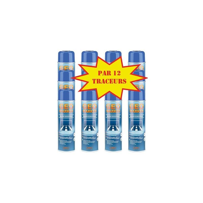 Carton de 12 Traceurs de chantier GEO MARKER TRACC 500ml bleu fluo