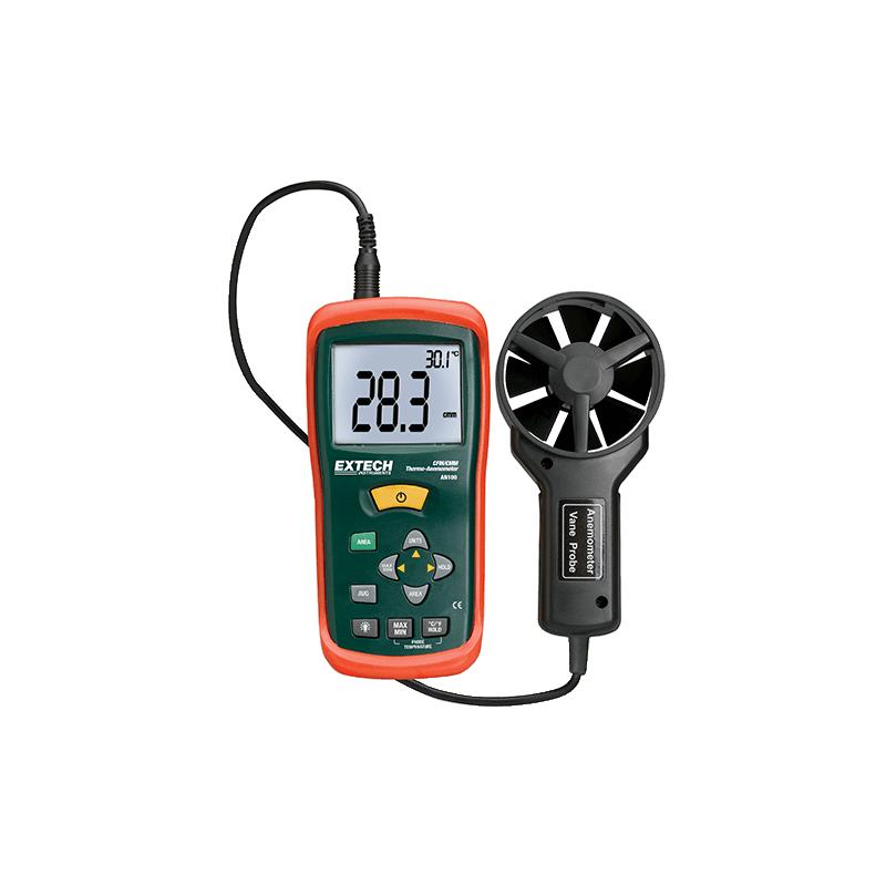 Thermo-anémomètre Grand écran de débit d'air ou de vitesse d'air AN100
