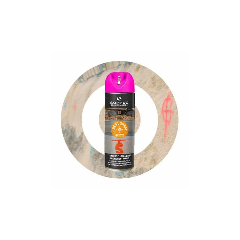 Traceur de chantier IDEAL SPRAY cerise Soppec