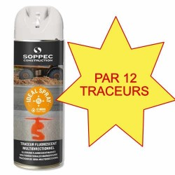 Carton de 12 Traceursr de chantier IDEAL SPRAY blanc Soppec