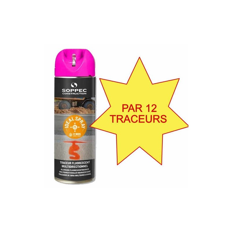 Carton de 12 Traceurs de chantier IDEAL SPRAY cerise Soppec