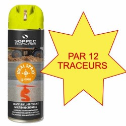 Carton de 12 Traceurs de chantier IDEAL SPRAY jaune Soppec