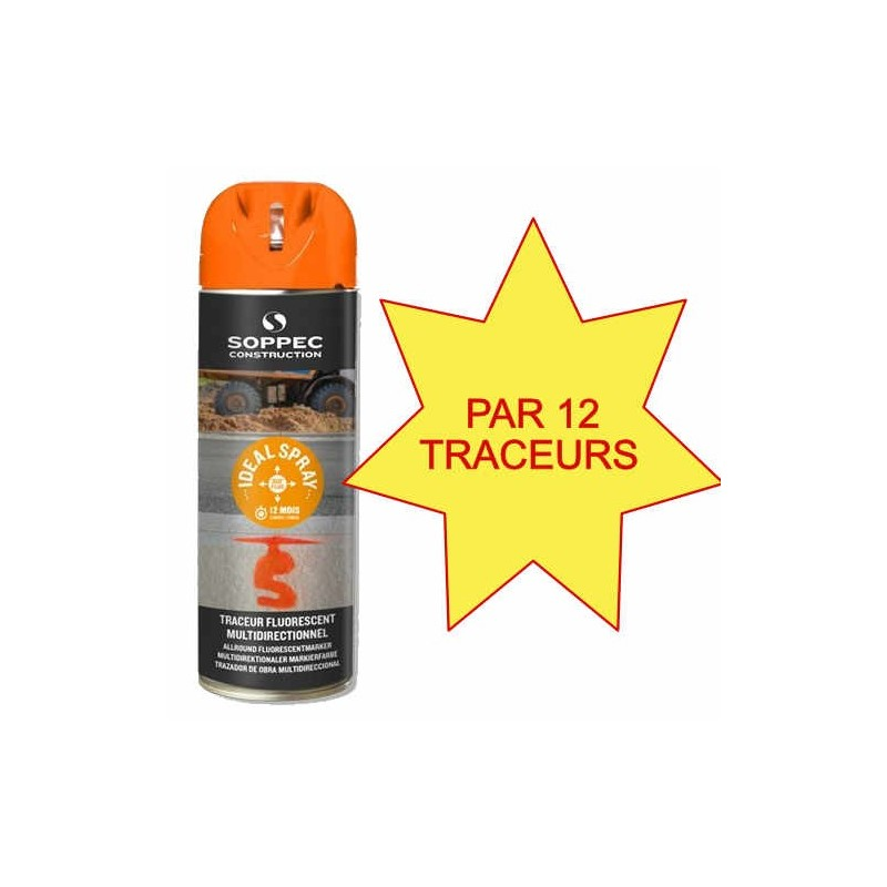 Carton de 12 Traceurs de chantier IDEAL SPRAY Orange Soppec