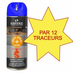 Carton de 12 Traceurs de chantier IDEAL SPRAY bleu Soppec