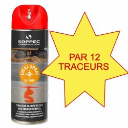 Carton de 12 Traceurs de chantier IDEAL SPRAY rouge Soppec