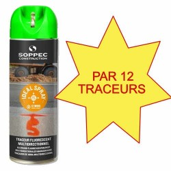 Carton de 12 Traceurs de chantier IDEAL SPRAY vert Soppec