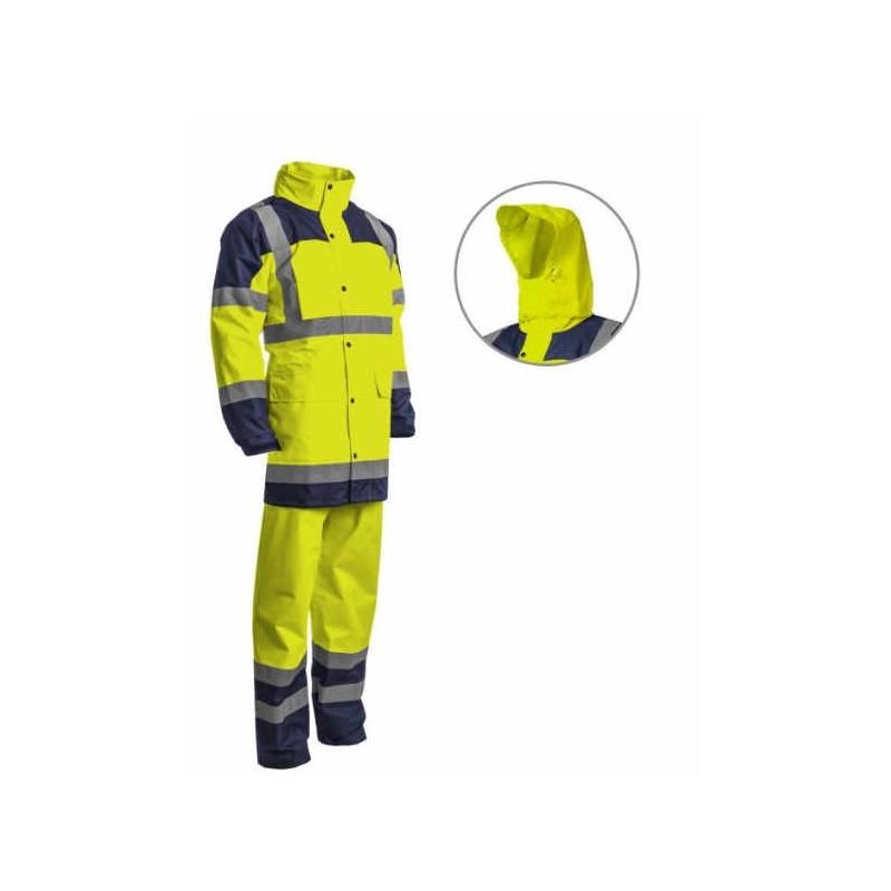 Ensemble de pluie HI WAY H/ V Jaune/marine veste et pantalon T XL
